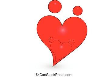 unie, hart, figuren, gezin, logo