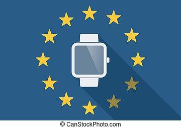 unie, horloge, lang, vlag, schaduw, smart, europeaan
