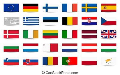 unie, land, alles, vlaggen, europeaan