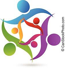 unie, logo, teamwork, familie handel