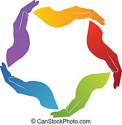 unie, logo, teamwork, handen