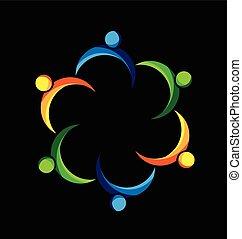 unie, logo, teamwork, mensen
