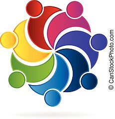 unie, logo, teamwork, zakelijk