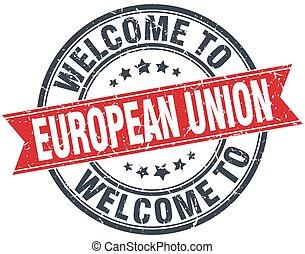 unie, ouderwetse , welkom, postzegel, ronde, rood, europeaan