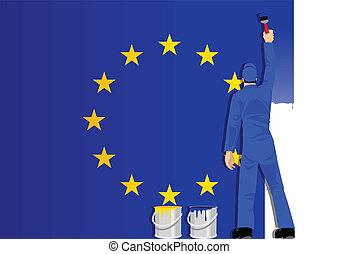 unie, schilderij, europees vlag