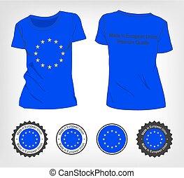 unie, t-shirt, vlag, europeaan
