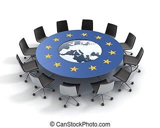 unie, tafel, ronde, europeaan