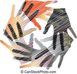 unie, vector, illustratie, touch.