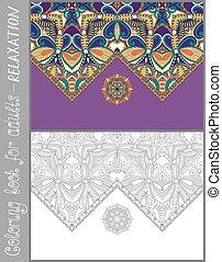 uniek, kleurend boek, pagina, voor, volwassenen, -, bloem, paisley ontwerp