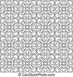 uniek, kleurend boek, plein, pagina, voor, volwassenen, -, seamless, model, tegel, ontwerp, vreugde, om te, ouder, kinderen, en, volwassene, colorists, wie, zoals, lijnen kunst, en, creation., zwart wit, vector, illustratie