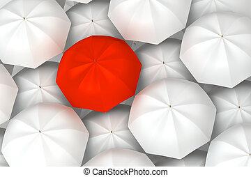 uniek, rode paraplu, tussen, een ander, witte , paraplu's