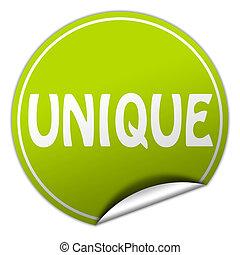 uniek, ronde, groene, sticker, op wit, achtergrond