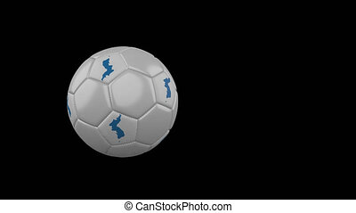Unification flag of Korea flag on flying and rotating soccer ball on transparent alpha channel
