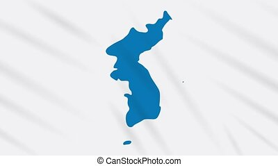 Unification flag of Korea waving cloth, ideal for background, loop