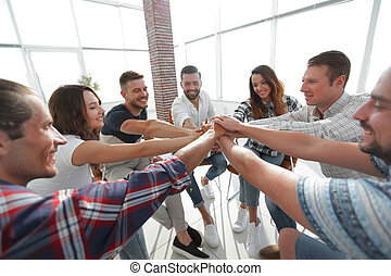 unified business team. the concept of teamwork. photo with ...