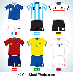 Abstract nationals football uniform:brazilian, german, argentina, spanish, england, france