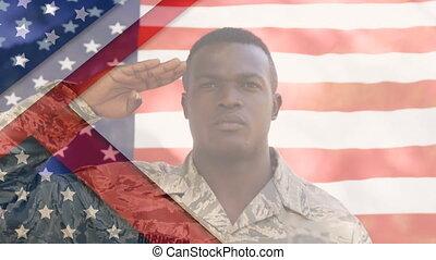 uniform, animatie, v.s., man, op, vlag, hardloop, saluting, ...