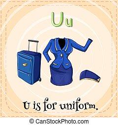 Uniform - Flashcard letter U is for uniform