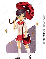 uniform, meisje, school