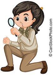 uniform, meisje, vergrootglas, witte , verkenner, achtergrond