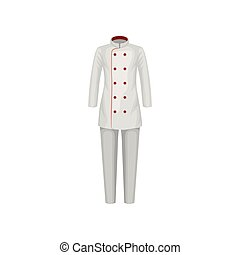 Uniform of restaurant cook. Female jacket and pants. Chef wear. Clothes of kitchen worker. Flat vector design