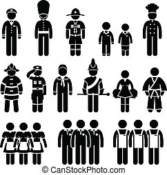 Uniform Outfit Clothing Wear Job - A set of pictogram...