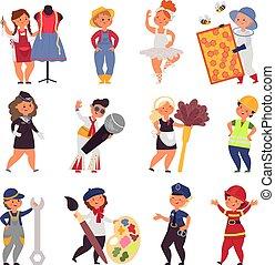 uniform., vektor, dräkt, ockupationerna, tecken, barn, lurar, tecknad film, bonde, söt, olik, arbete, anständig, professionell, sångare, teens.