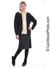 uniforme école, élevé, blond, education, girl
