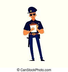 uniforme, écriture, dessin animé, sérieux, homme, bleu, -, officier, billet, police
