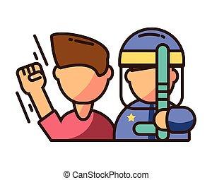 uniforme, émeute, bâton, bouclier, gendarme