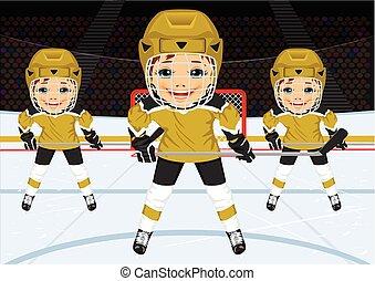 uniforme, équipe, hockey, jeune