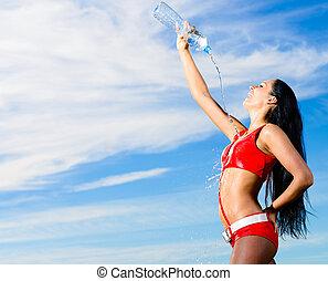 uniforme, bouteille eau, girl, sport, rouges