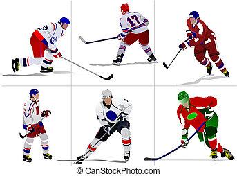 uniforme, campeón, casco, equipo, plano de fondo, ilustración, entrenador, deporte, accesorios, deportista, patines, portero, protección, hielo, hockey, entrenamiento, jugador, campeonato, juegos, skating-rink, invierno, ilustraciones, competición, disco