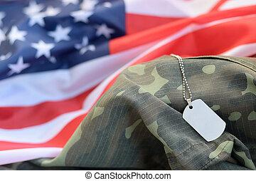 uniforme, camuflagem, prateado, militar, tag, tecido, estados, contas, unidas, bandeira, cão