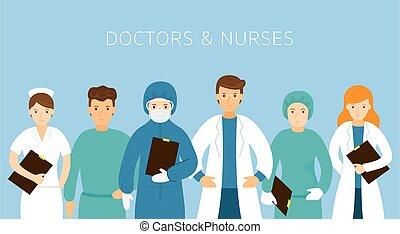 uniforme, groupe, porter, médecins, infirmières