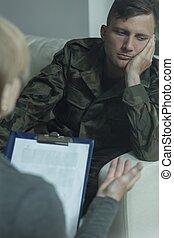uniforme, homem, exército