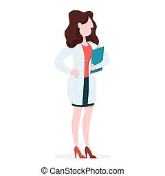 uniforme médico, standing., médico feminino