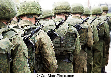 uniforme militar, soldado, fila