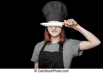 uniforme, pretas, cozinheiro, fundo, atraente, rosto, faca, frente, mulher, segura, jovem