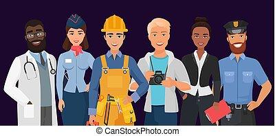uniforme, set., hommes, gens, porter, ouvriers, divers, professionnel, police, photographe, collection, femme, constructeur, business, différent, profession, femmes, docteur, ou, hôtesse, métiers, officer.