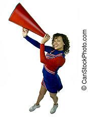 uniformed, cheerleader, s, megaphon