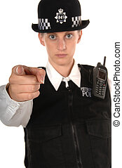 Uniformed Female UK Police Officer pointing finger