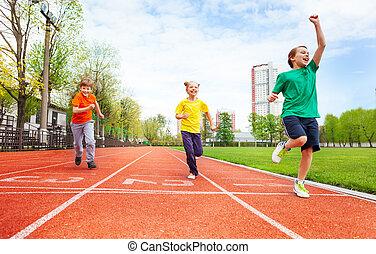 uniformes, course, coloré, garçons, girl, marathon