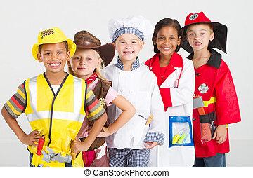 uniformes, crianças, grupo