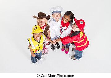 uniformes, crianças, trabalho equipe