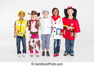 uniformes, crianças, vestindo