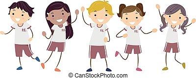uniformes, stickman, illustration, gosses