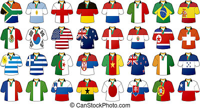 uniforms of national flags participating in world cup with ...