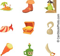 Uninhabited island icons set, cartoon style