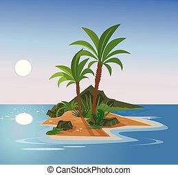 Uninhabited island. Vector flat cartoon illustration